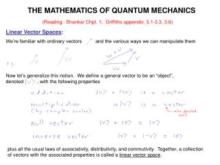 THE MATHEMATICS OF QUANTUM MECHANICS