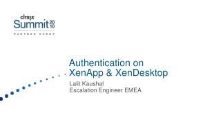 Authentication on XenApp & XenDesktop