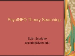 PsycINFO Theory Searching