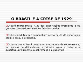 O BRASIL E A CRISE DE 1929