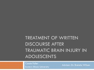 Treatment of Written Discourse after Traumatic Brain Injury in Adolescents