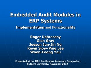 Embedded Audit Modules in ERP Systems Implementation  and  Functionality
