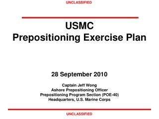 USMC  Prepositioning Exercise Plan