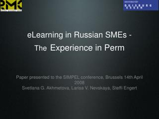 eLearning in Russian SMEs -  The Experience in Perm