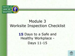 Module 3 Worksite Inspection Checklist