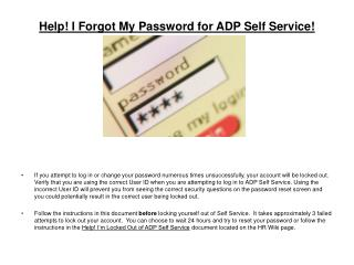 Help I Forgot My Password for ADP Self Service
