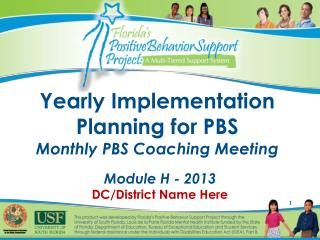 Yearly Implementation Planning for PBS Monthly PBS Coaching Meeting