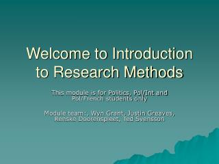 Welcome to Introduction to Research Methods