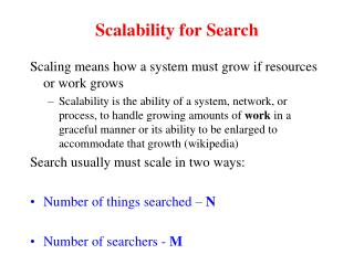 Scalability for Search