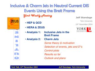 Inclusive & Charm Jets in Neutral Current DIS Events Using the Breit Frame