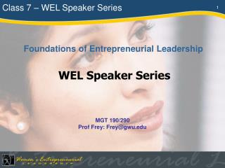 Class 7 � WEL Speaker Series