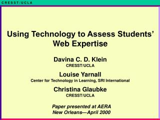 Paper presented at AERA New Orleans—April 2000