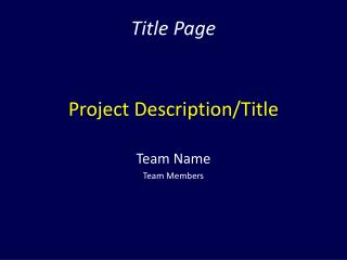 Project Description/Title