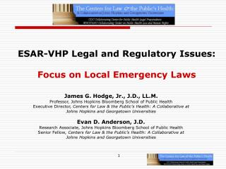 ESAR-VHP Legal and Regulatory Issues: Focus on Local Emergency Laws
