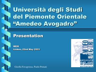 Universit� degli Studi del Piemonte Orientale �Amedeo Avogadro�