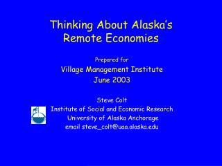 Thinking About Alaska's Remote Economies