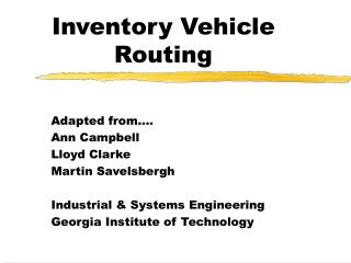 Inventory Vehicle Routing