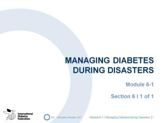 Managing diabetes  during disasters