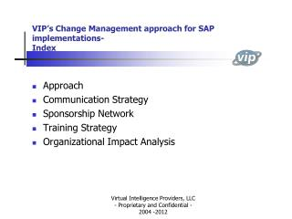 VIP's Change Management approach for SAP implementations- Index
