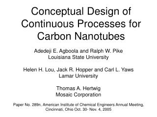 Conceptual Design of Continuous Processes for Carbon Nanotubes