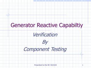 Generator Reactive Capabiltiy