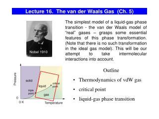 Lecture 16.  The van der Waals Gas  (Ch. 5)