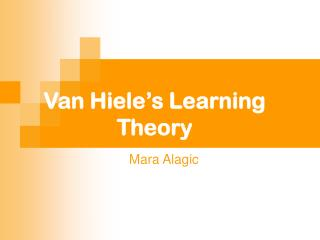 Van Hiele's Learning Theory