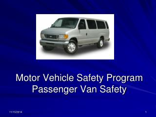 Motor Vehicle Safety Program Passenger Van Safety