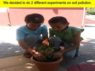 We decided to  do 2  different experiments  on  soil pollution .