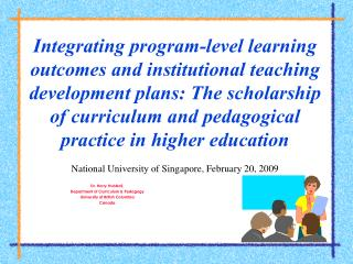 Dr. Harry Hubball,  Department of Curriculum & Pedagogy University of British Columbia Canada