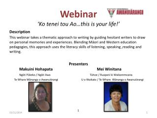 Webinar 'Ko  tenei  tou Ao…this is your life!'