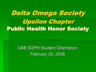 Delta Omega Society Upsilon Chapter Public Health Honor Society