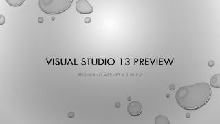 Visual Studio 13 Preview