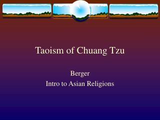 Taoism of Chuang Tzu