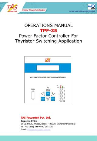OPERATIONS MANUAL TPF-35 Power Factor Controller For Thyristor Switching Application