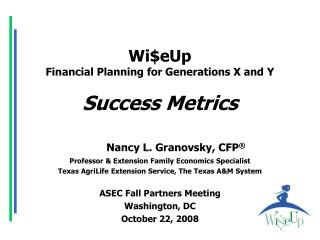 WieUp Financial Planning for Generations X and Y   Success Metrics