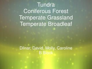 Tundra Coniferous Forest Temperate Grassland Temperate Broadleaf