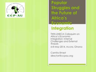 Popular Struggles and the Future of Africa's Economic Integration