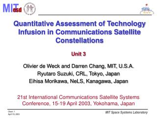 Quantitative Assessment of Technology Infusion in Communications Satellite Constellations