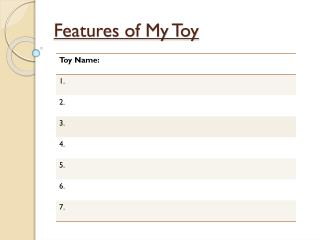 Features of My Toy