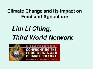 Climate Change and its Impact on Food and Agriculture
