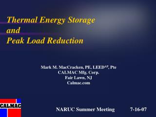 Thermal Energy Storage  and  Peak Load Reduction