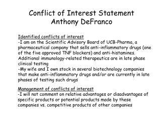 Conflict of Interest Statement Anthony DeFranco