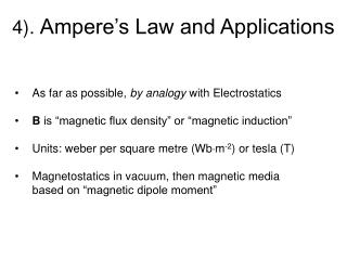 4).  Ampere�s Law and Applications