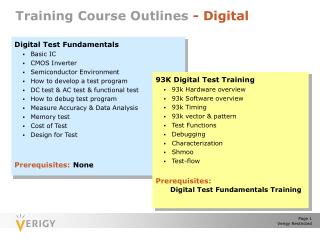 Training Course Outlines  - Digital
