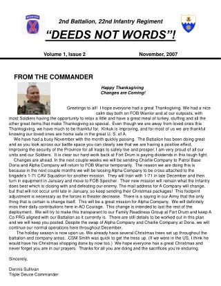 "2nd Battalion, 22nd Infantry Regiment ""DEEDS NOT WORDS""!"