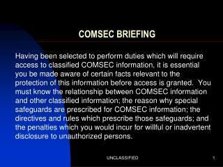 COMSEC BRIEFING