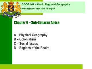 Chapter 6 – Sub-Saharan Africa