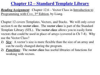 Chapter 12 – Standard Template Library