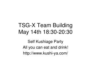TSG-X Team Building May 14th 18:30-20:30